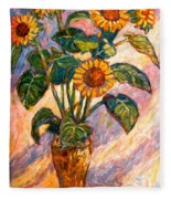 Shadows On Sunflowers Fleece Blanket
