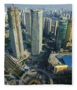 Shanghai From Above Fleece Blanket