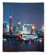 Shanghai Panorama Fleece Blanket