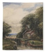 Shardlow Lock With The Lock Keepers Cottage Fleece Blanket