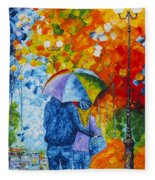 Sharing Love On A Rainy Evening Original Palette Knife Painting Fleece Blanket