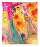 She Sings - Yellow Bird Art By Sharon Cummings Fleece Blanket