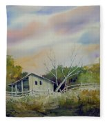 Shed With A Rail Fence Fleece Blanket