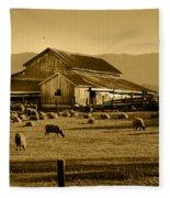 Sheep And Barn Fleece Blanket