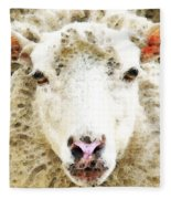 Sheep Art - White Sheep Fleece Blanket