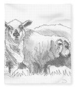 Sheep Drawing Fleece Blanket