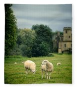 Sheep Grazing By Castle Fleece Blanket