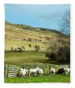 Sheep In Meadow Fleece Blanket