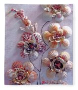 Shell Flowers  No 1  Fleece Blanket