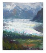 Shifting Light - Matanuska Glacier Fleece Blanket