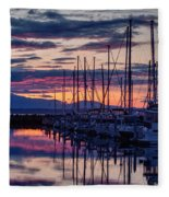 Shilshole Olympic Mountains Sunset Fleece Blanket