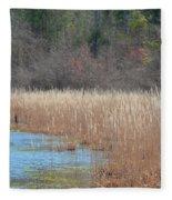 Shimmering Gold Grasslands Fleece Blanket
