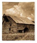 Shingle Barn Sepia 2 Fleece Blanket