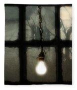 Lit Light Bulb Shines In Old Window Fleece Blanket