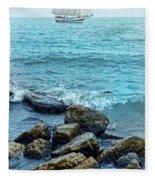 Ship At Sea Fleece Blanket