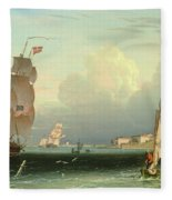Ship Going Out, Fort Independence Fleece Blanket