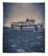 Ship In A Snowstorm Fleece Blanket