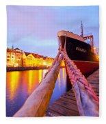 Ship In Harbor Fleece Blanket