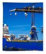 Ship In Port Fleece Blanket