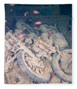 Motorbikes On A Ship Wreck Fleece Blanket