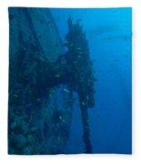 Small Artillery On A Ship Wreck Fleece Blanket