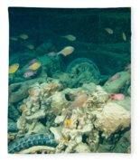 Ship Wreck With Motorbikes Fleece Blanket