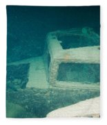 Ship Wreck With Trucks Fleece Blanket