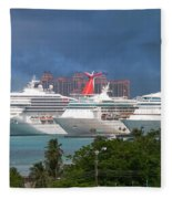 Ships And Atlantis Fleece Blanket