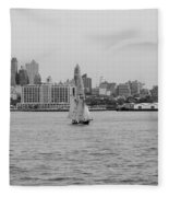 Ships And Boats In Black And White Fleece Blanket