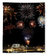 Ships And Fireworks Fleece Blanket
