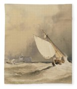 Ships At Sea Off Folkestone Harbour Storm Approaching Fleece Blanket