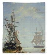 Ships In A Dutch Estuary Fleece Blanket