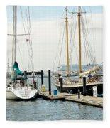 Ships In Newport Harbor Fleece Blanket