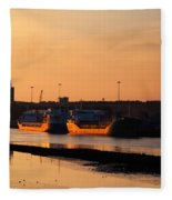 Ships Moored At The New Docking Fleece Blanket