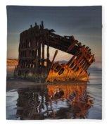 Shipwreck At Sunset Fleece Blanket