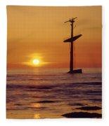 1a4145-a1-e-shipwreck In The Bay Fleece Blanket