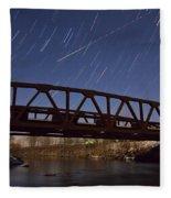 Shooting Star Over Bridge Fleece Blanket
