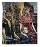 Shop Window Display Of Mannequins Fleece Blanket
