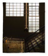 Shopping Cart Stairs At Window Fleece Blanket