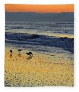 Shorebirds At Dawn Fleece Blanket