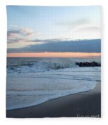Shoreline  And Waves At Cape May Fleece Blanket