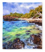 Shoreline At Puako Fleece Blanket