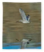 Short-billed Dowitcher And Reflection Fleece Blanket