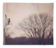 Short Eared Owl At Dusk Fleece Blanket