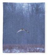 Short Eared Owl In Motion Fleece Blanket