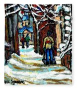 Shovelling Out After January Storm Verdun Streets Clad In Winter Whites Montreal Painting C Spandau Fleece Blanket