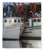 Shrimp Boats Reflecting Fleece Blanket