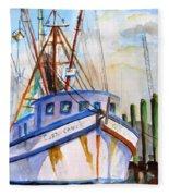 Shrimp Fishing Boat Fleece Blanket
