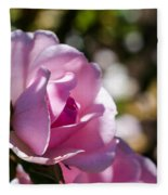 Shy Pink Rose Bud Fleece Blanket