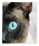 Siamese Cat Art - Half The Story Fleece Blanket